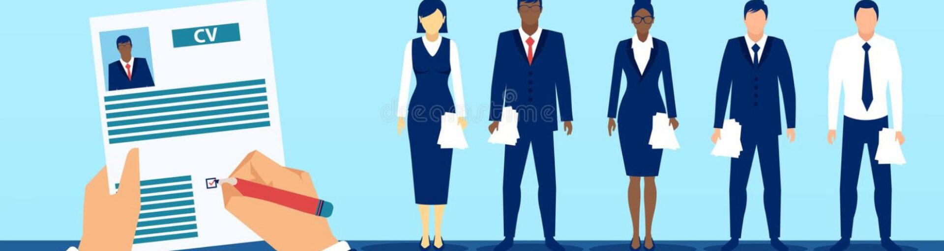 bannière rubrique emploi CV et personnages